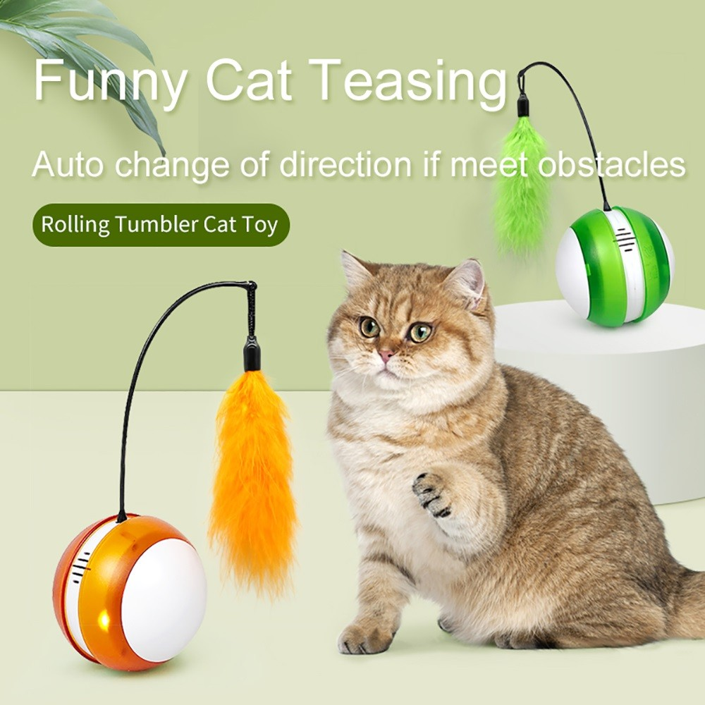Green Rolling Tumbler Cat Toy With Bird Sound and LED Light