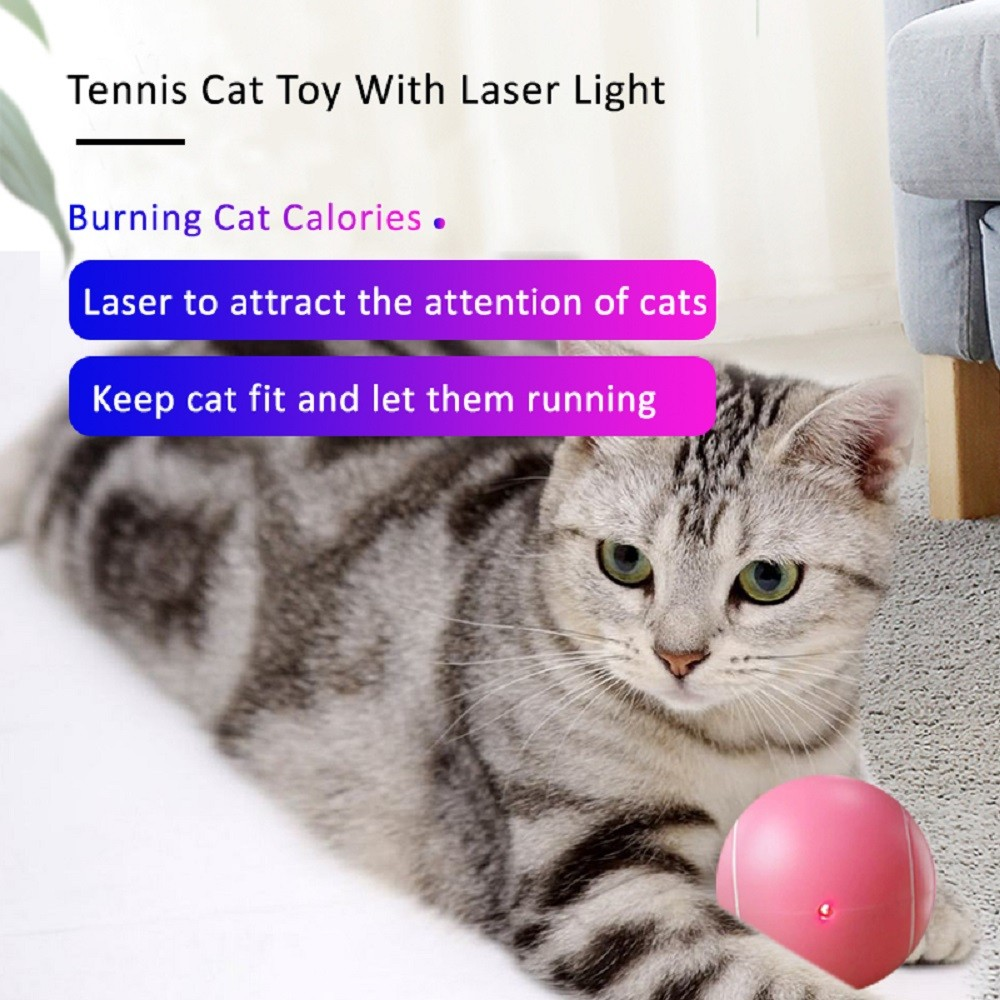 Green Tennis Ball Cat Toy With Laser Light