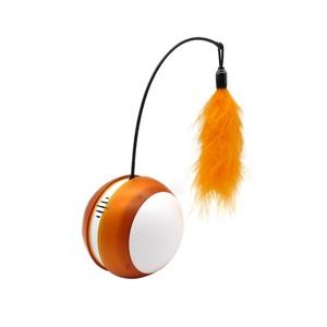 Orange Rolling Tumbler Cat Toy With Bird Sound and LED Light